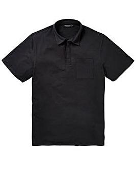 Black Stretch Jersey Polo Long