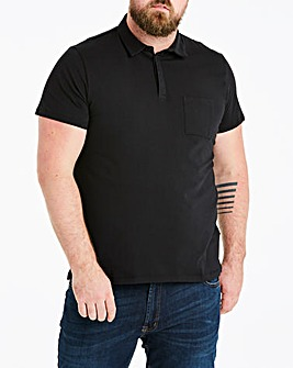 Black Stretch Jersey Polo Long