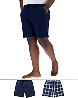 Pack of 2 Navy/Check PJ Shorts
