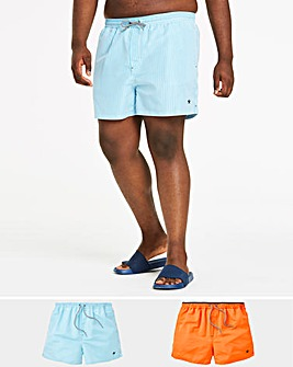 Pack of 2 Plain/Stripe Swimshorts