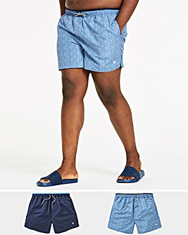Pack of 2 Plain/Print Swimshorts
