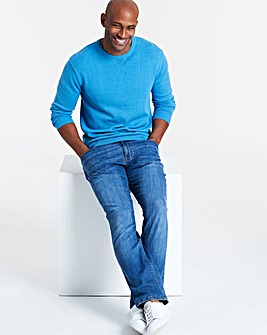 Azure Blue Crew Neck Cotton Jumper