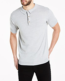 Light Grey Short Sleeve Knitted Polo Regular