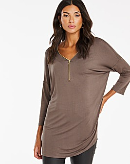Zip Front 3/4 Sleev Tunic
