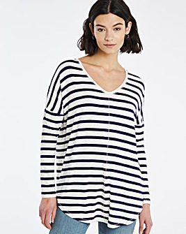 V Neck Black/ White Stripe Long Sleeve Tunic