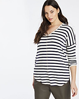 V Neck Black/ White Stripe Long Sleeve Tunic
