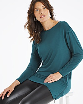 Deep Teal Side Zip Asymmetric Tunic