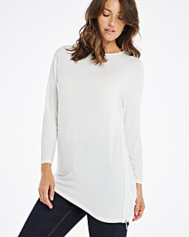 Cream Side Zip Asymmetric Tunic