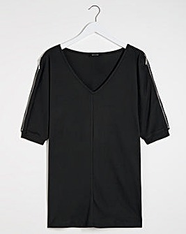 Black Knit Look Zip Shoulder Tunic