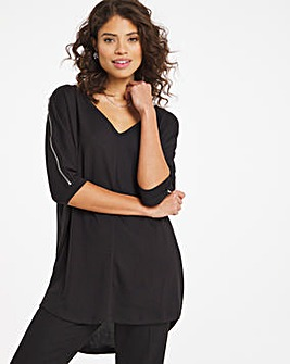 Knit Look Zip Shoulder Tunic