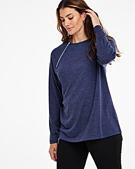 Indigo Marl Knit Look Side Neck Zip Top