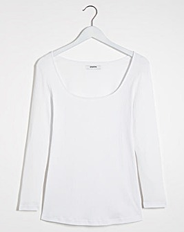Square Neck Ribbed Long Sleeve Top