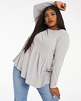 Rib Peplum Long Sleeve Top