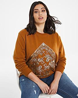 Bandana Print Tan Sweatshirt