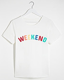 White Weekend Slogan T-Shirt