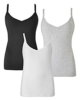 3 Pack Black/White/Grey Camis