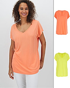 Pack 2 V Neck Slouch T Shirts
