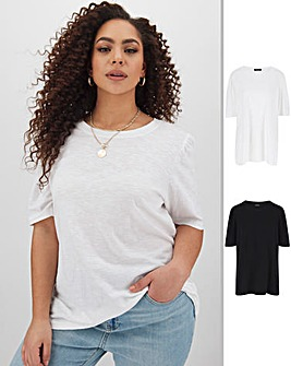 Pack of 2 Gathered Sleeve Tops