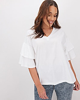 White Oversized Ruffle Sleeve T-Shirt