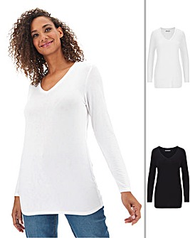 2 Pack Long Sleeve V Neck Tops