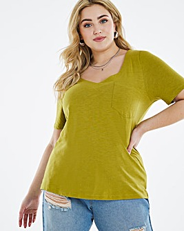 Olive V-Neck Pocket T-Shirt