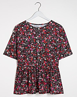 Floral Print Short Sleeve Peplum Top