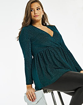 Teal Glitter Long Sleeve Wrap Tunic Top