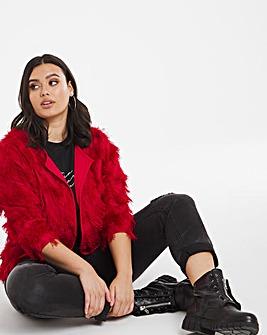 Red Fringed Kimono Jacket