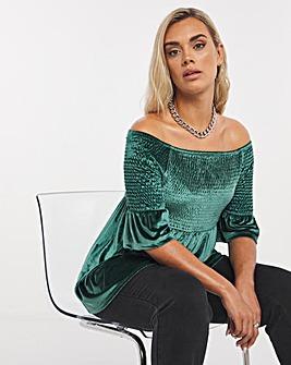 Emerald Shirred Velvet Bardot Top