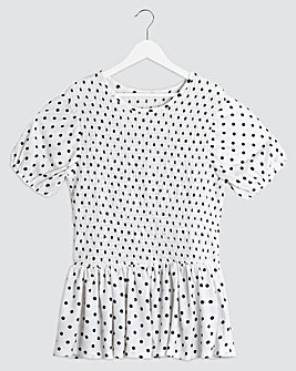 White Spotted Shirred Peplum Top
