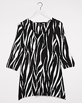 Zebra Print Dip Back Tunic
