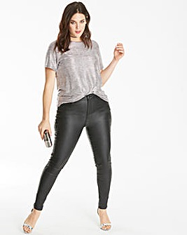 Chloe Stretch Coated Skinny Jeans Short