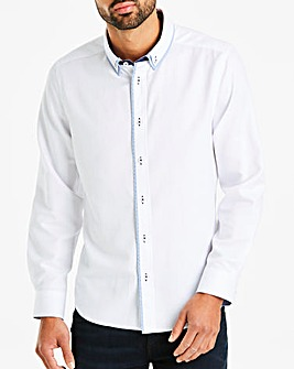 White Texture Double Collar Shirt Long