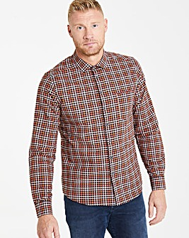 Brown Long Sleeve Checked Shirt Long