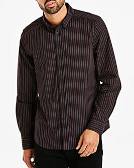 Black Stripe L/S Double Collar Shirt L