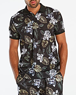 Jacamo Floral Printed Polo Long