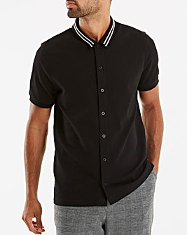 Jacamo Pique Tip Collar Shirt Long