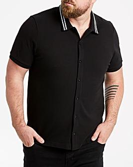 Jacamo Pique Tip Collar Shirt Reg