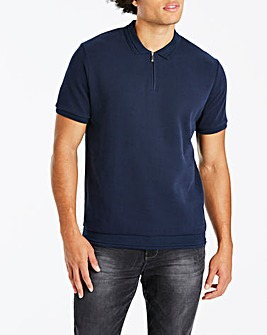 Jacamo Zip Neck Textured Polo Long