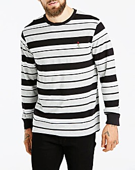 Jacamo Long Sleeve Stripe Embroidery T-Shirt Regular