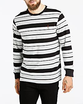 Jacamo Stripe Embroidery T-Shirt Reg
