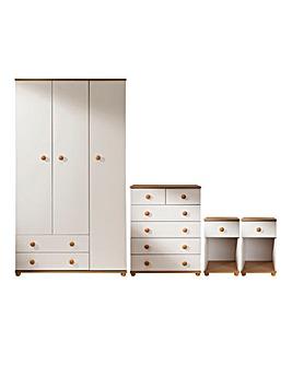 Aspen 4 Piece Bedroom Package (2 x Bedside, 4+2 Drawer Chest, 3 Door Wardrobe)