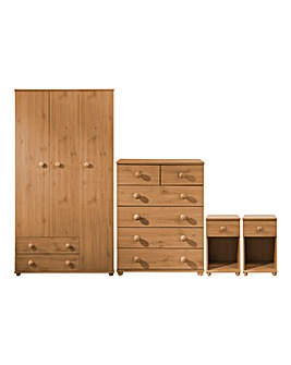 Aspen 4 Piece Bedroom Package (2 x Bedside, 4+2 Drawer Chest, 3 Door Wardrobe)