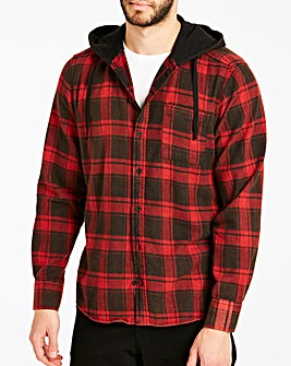 Jacamo Buffalo Check Hooded Shirt Long