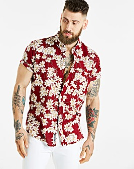 Jacamo S/S Red Print Shirt Regular