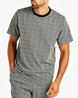Jacamo Premium Check Jacquard T-Shirt Regular
