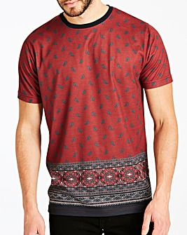 Jacamo Printed Border Hem T-Shirt Long