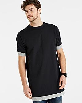 Black/Grey Longline T-Shirt