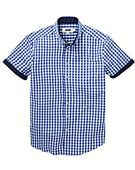 Jacamo Gingham Check S/S Shirt Long
