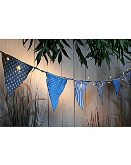 Solar Village Bunting String Lights Blue